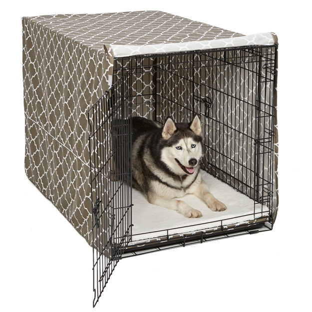 "Picture of Midwest QuietTime Defender Covella Dog Crate Cover Brown 48"" x 30"" x 33"""