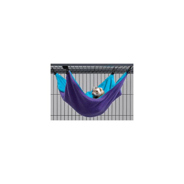 """Picture of Midwest Ferret Nation Hammock Hideaway Large Teal / Purple 17"""" x 13"""" x 8"""""""