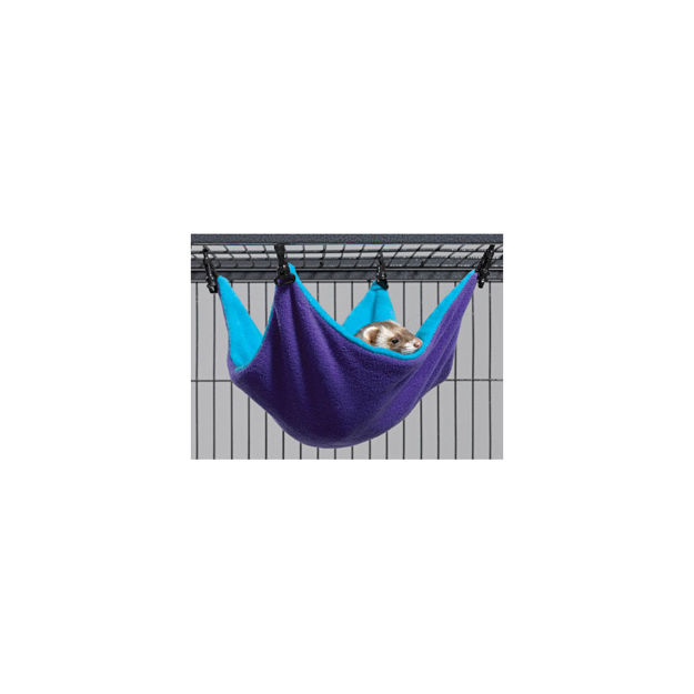 """Picture of Midwest Ferret Nation Hammock Hideaway Small Teal / Purple 14"""" x 12"""" x 6.5"""""""