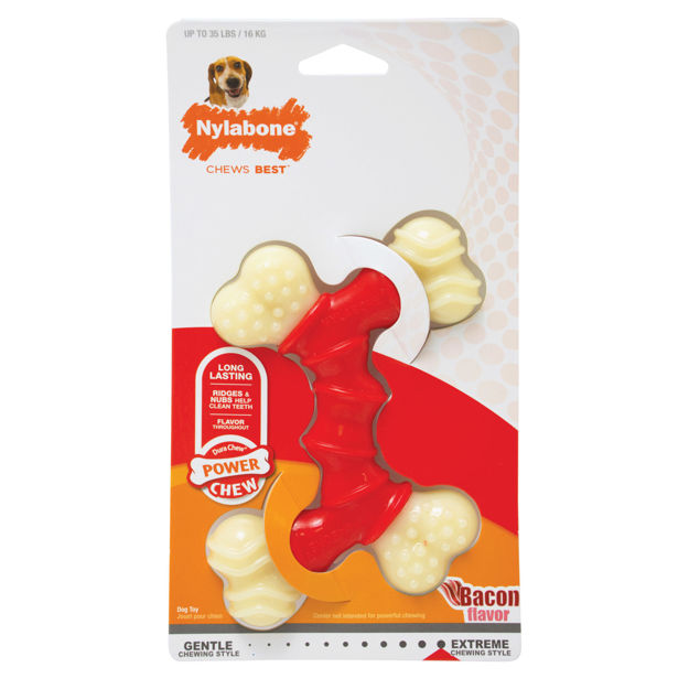 Picture of Nylabone Power Chew Double Bone Bacon Chew Toy Wolf