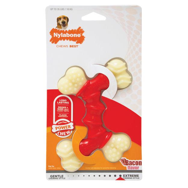 Nylabone Power Chew Double Bone Bacon Chew Toy Wolf