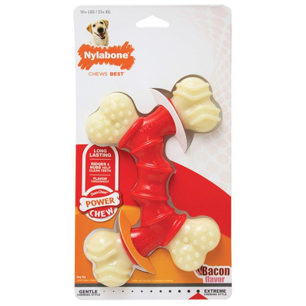 Picture of Nylabone Power Chew Double Bone Bacon Chew Toy Souper