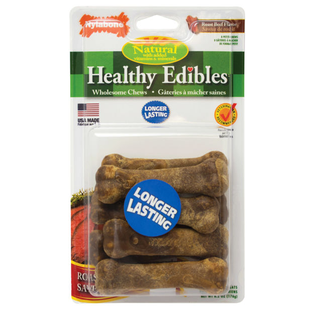 Nylabone Healthy Edibles Longer Lasting Beef Treats Petite 8 count