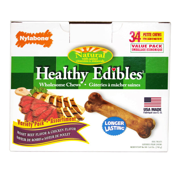 Nylabone Healthy Edibles Longer Lasting Roast Beef and Chicken Treats Petite 34 count