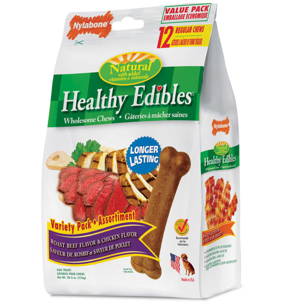 Picture of Nylabone Healthy Edibles Longer Lasting Roast Beef and Chicken Treats Regular 12 count