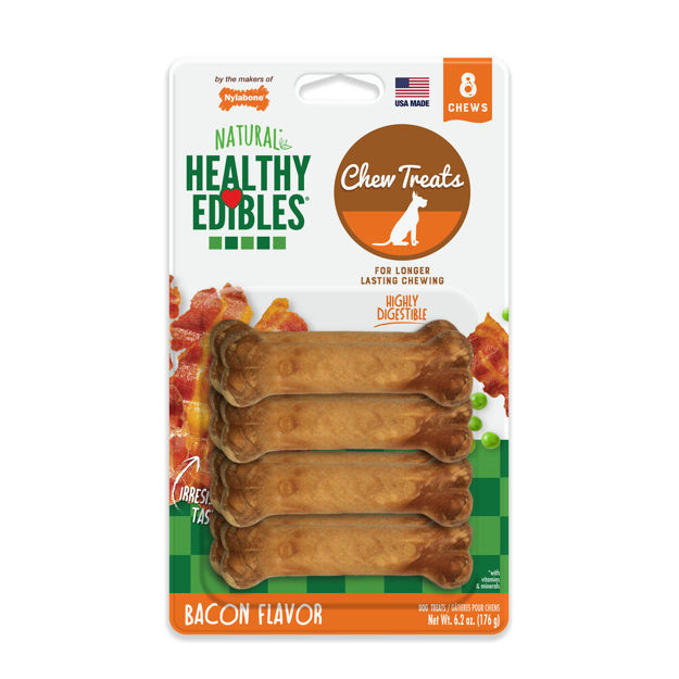 Picture of Nylabone Healthy Edibles Longer Lasting Bacon Treats Petite 8 count