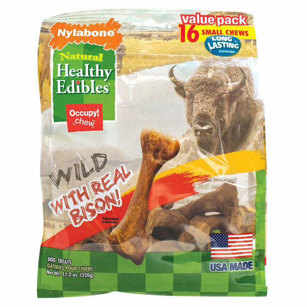 Picture of Nylabone Healthy Edibles Wild Chew Treats Bison Small 16 count