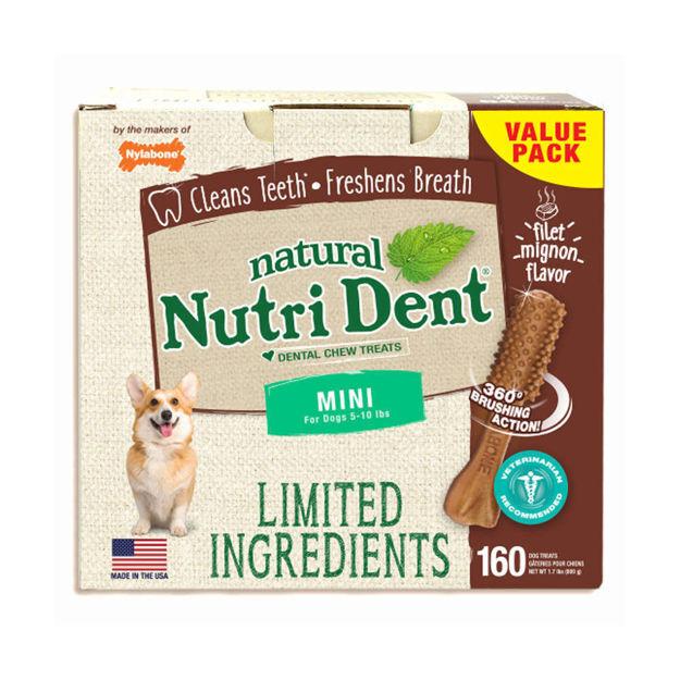 Nylabone Nutri Dent Limited Ingredient Dental Chews Filet Mignon Mini 160 count