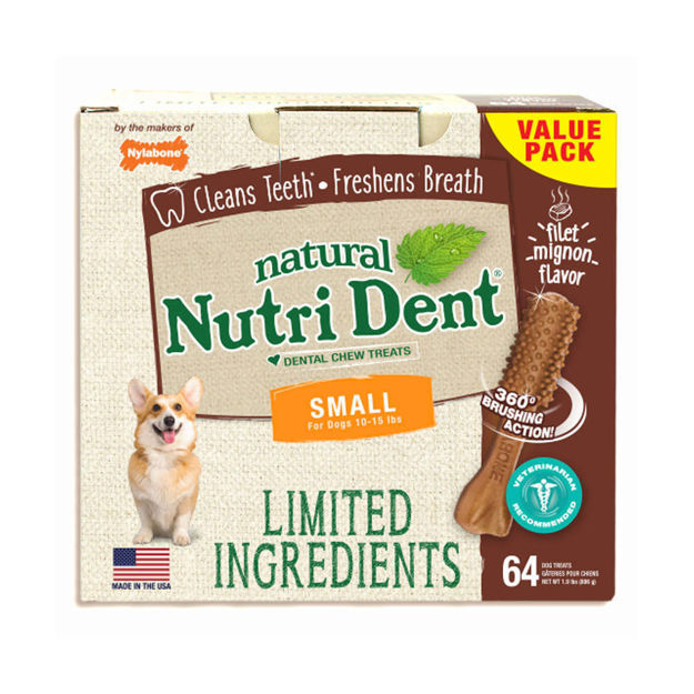 Nylabone Nutri Dent Limited Ingredient Dental Chews Filet Mignon Small 64 count