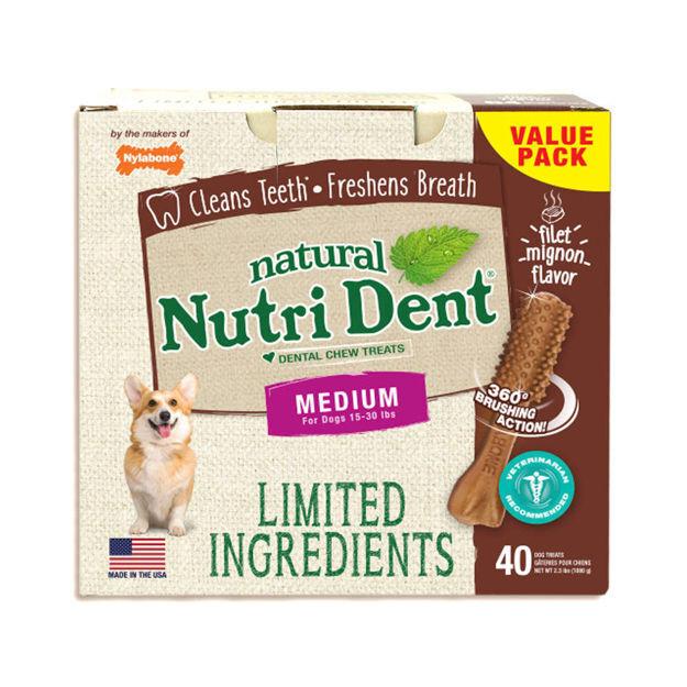 Picture of Nylabone Nutri Dent Limited Ingredient Dental Chews Filet Mignon Medium 40 count