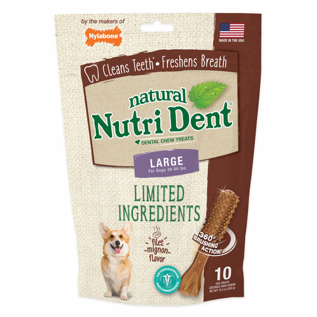 Nylabone Nutri Dent Limited Ingredient Dental Chews Filet Mignon Large 10 count