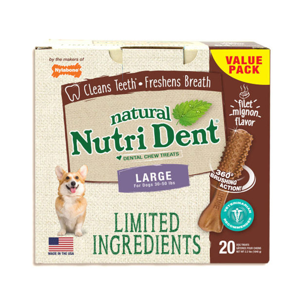 Nylabone Nutri Dent Limited Ingredient Dental Chews Filet Mignon Large 20 count
