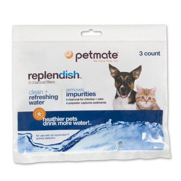 "Picture of Petmate Replendish Replacement Filters 3 pack with 1 filter strap 8.3"" x 0.6"" x 6.1"""