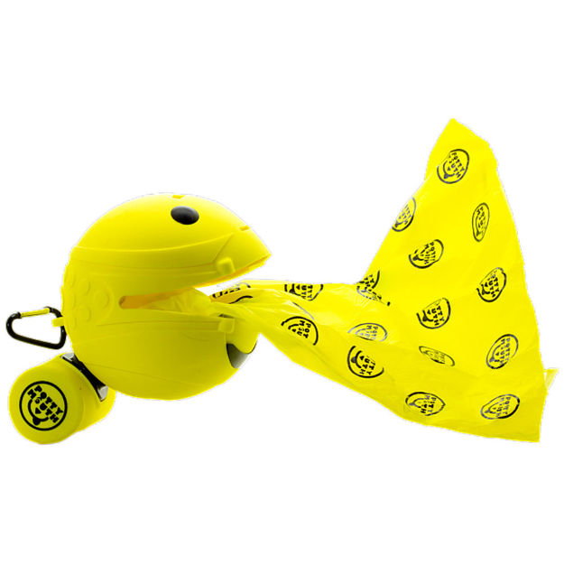 """Picture of Potty Mouth Portable Hygienic Pooper Scooper Medium Yellow 3.5"""" x 3.5"""" x 3.5"""""""