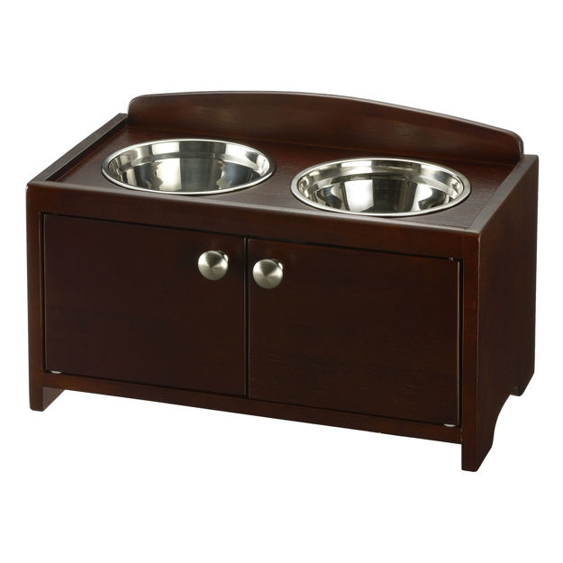 """Richell Elegant Wooden Pet Feeder Medium Dark Brown 18.3"""" x 10.6"""" x 11.2"""""""