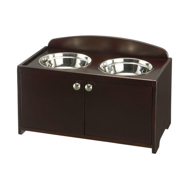 "Picture of Richell Elegant Wooden Pet Feeder Large Dark Brown 23.8"" x 13.4"" x 15.4"""