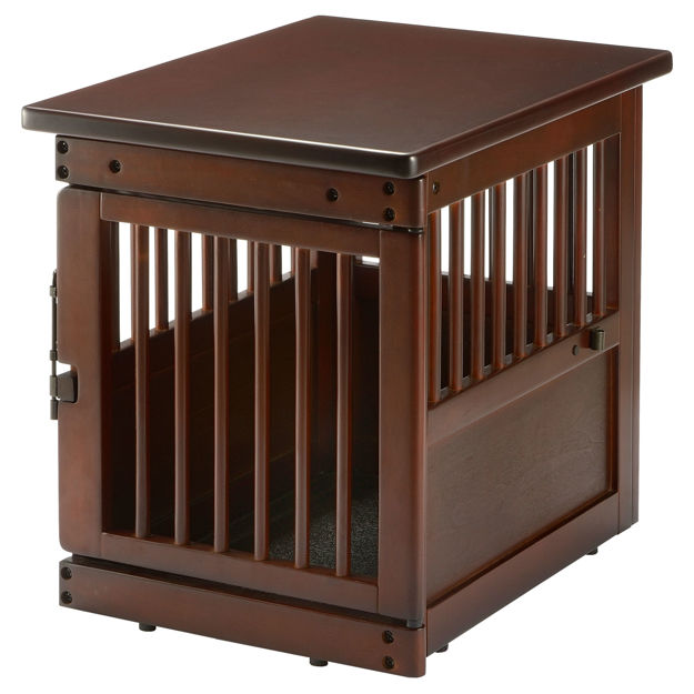 """Picture of Richell Wooden End Table Dog Crate Small Dark Brown 24"""" x 18.1"""" x 20.9"""""""