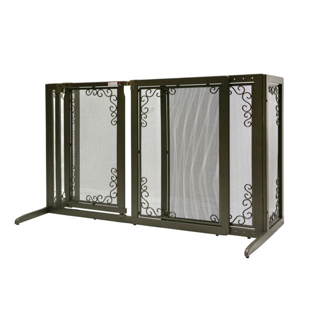 """Picture of Richell Deluxe Freestanding Mesh Pet Gate Brown 52.2"""" - 69.1"""" x 27"""" x 36.2"""""""