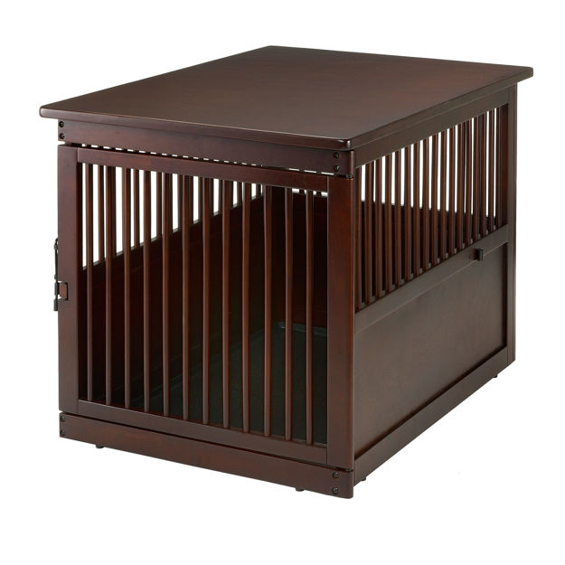 """Picture of Richell Wooden End Table Dog Crate Large Dark Brown 41.5"""" x 29.9"""" x 29.5"""""""
