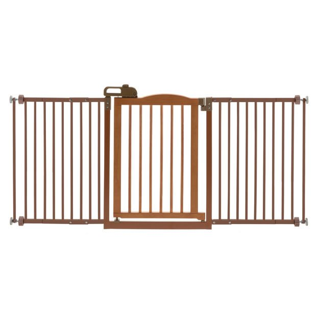 "Richell One-Touch Wide Pressure Mounted Pet Gate II Brown 32.1"" - 62.8"" x 2"" x 30.5"""