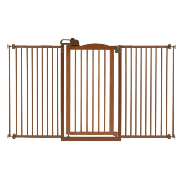 """Richell One-Touch Tall and Wide Pressure Mounted Pet Gate II Brown 32.1"""" - 62.8"""" x 2"""" x 38.4"""""""