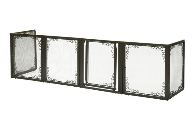"""Picture of Richell Convertible Elite Mesh Pet Gate 6 Panels Brown 130"""" - 134"""" x 31.7"""" - 33.7"""" x 35.8"""""""
