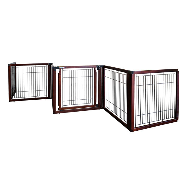 """Picture of Richell Convertible Elite Freestanding Pet Gate 6-Panel Cherry Brown 135.8"""" x 29.1"""" x 31.5"""""""