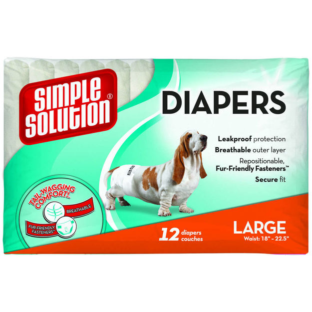 Picture of Simple Solution Disposable Dog Diapers 12 pack Large White