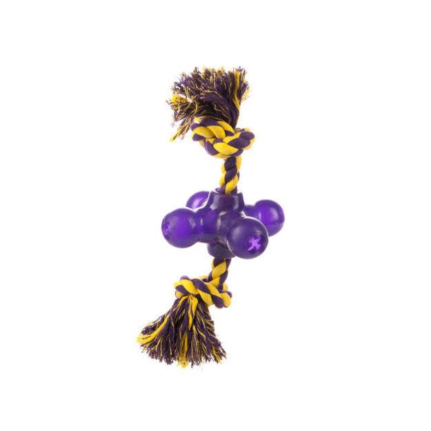 "Starmark Treat Dispensing Jack Small Purple / Yellow 4"" x 4"" x 10"""