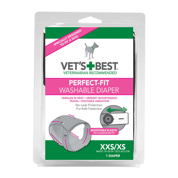 "Picture of Vet's Best Perfect-Fit Washable Female Dog Diaper 1 pack Extra Extra Small / Extra Small Gray 5.44"" x 1.75"" x 7.75"""