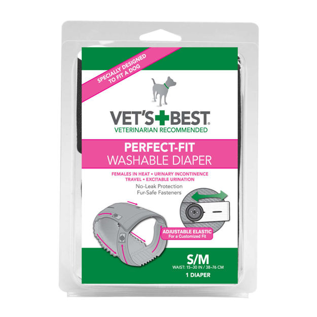 """Picture of Vet's Best Perfect-Fit Washable Female Dog Diaper 1 pack Small / Medium Gray 5.44"""" x 1.75"""" x 7.75"""""""