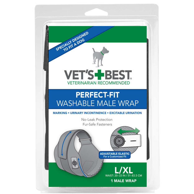 "Vet's Best Perfect-Fit Washable Male Wrap 1 pack Large / Extra Large Black 6"" x 2.13"" x 9"""