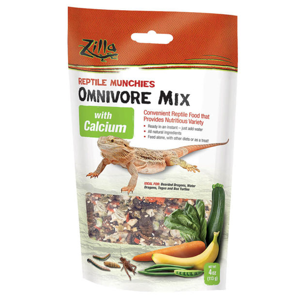 "Picture of Zilla Reptile Munchies Omnivore with Calcium 4 ounces 5.875"" x 2.75"" x 9.5"""
