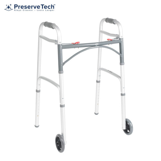 """Picture of PreserveTech Deluxe Folding Two-Button Walker With 5"""" Wheels"""
